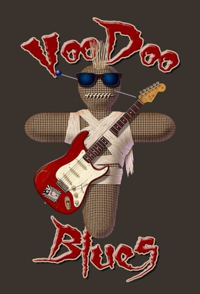 Voodoo Digital Art - Voodoo Blues Strat T Shirt by WB Johnston