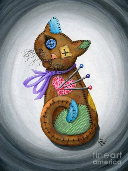 Painting - Voodoo Cat Doll - Patchwork Cat by Carrie Hawks