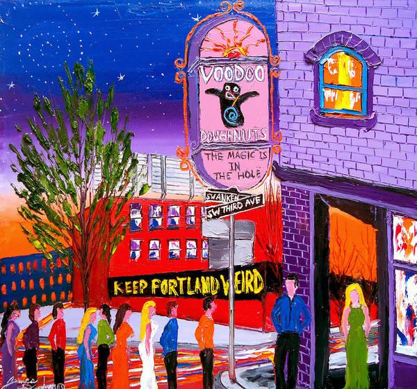 Wall Art - Painting - Voodoo Doughnut Sign #18 by Dunbar's Modern Art