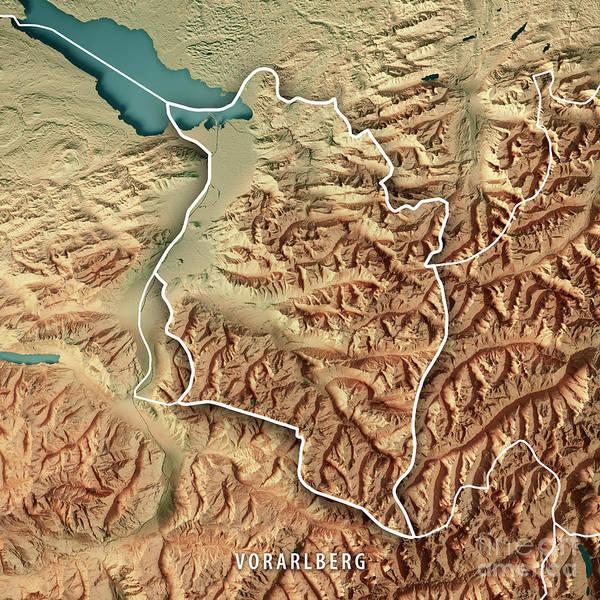 Liechtenstein Digital Art - Vorarlberg Bundesland Austria 3d Render Topographic Map Color Bo by Frank Ramspott
