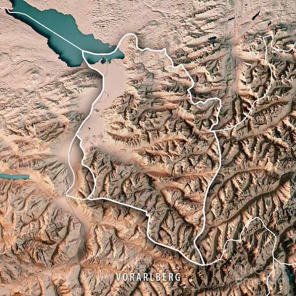 Liechtenstein Digital Art - Vorarlberg Bundesland Austria 3d Render Topographic Map Neutral  by Frank Ramspott