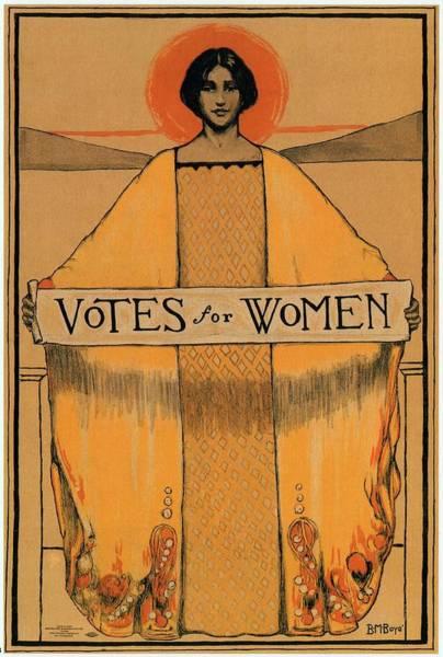 Vote Wall Art - Mixed Media - Votes For Women - Vintage Propaganda Poster by Studio Grafiikka