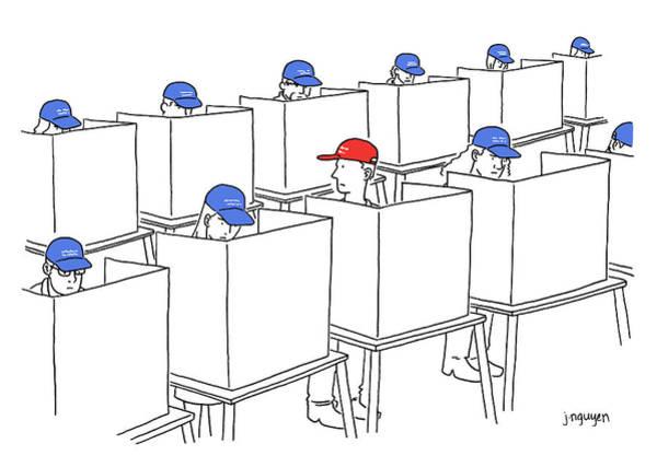 Jeremy Nguyen Drawing - Voting In The 2017 Election by Jeremy Nguyen