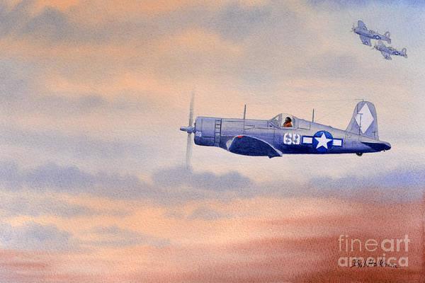 Corsair Painting - Vought F4u-1d Corsair Aircraft by Bill Holkham