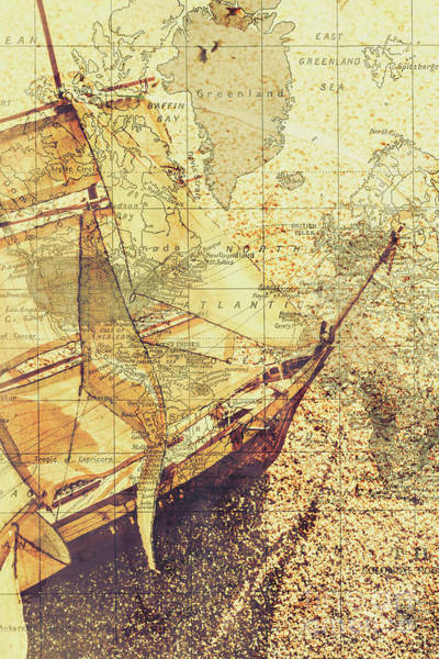 Overlay Photograph - Voyage Concept. Ship Floating On Map Background by Jorgo Photography - Wall Art Gallery