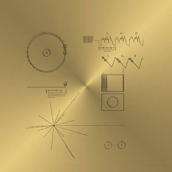 Digital Art - Voyager Golden Record Cover by Serge Averbukh