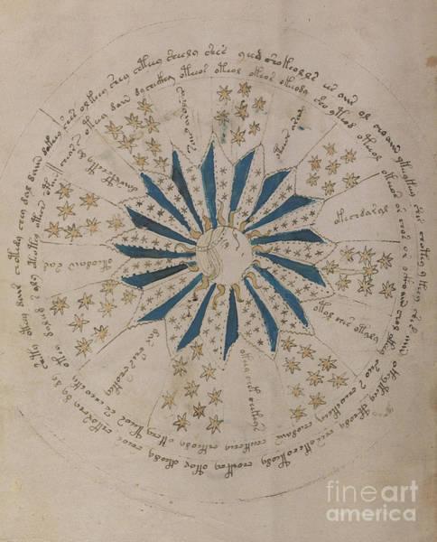 Cosmos Drawing - Voynich Manuscript Astro Rosette 1 by Rick Bures