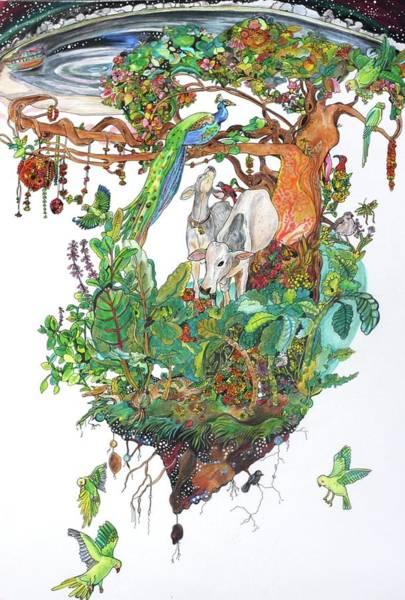 Green Parrot Drawing - Vrindavan by Sarah Holst