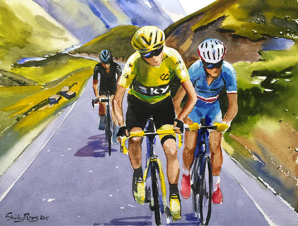 Le Tour De France Wall Art - Painting - Vroome Nibali Porte by Shirley Peters