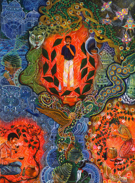 Art Print featuring the painting Vuelan Versucum   by Pablo Amaringo