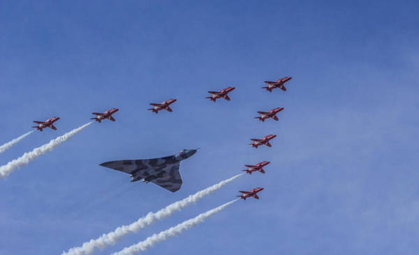 Vulcan Bomber Photograph - Vulcan And Red Arrows by Paul Madden