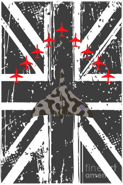 Vulcan Xh558 Wall Art - Digital Art - Vulcan And Red Arrows Tribute by J Biggadike