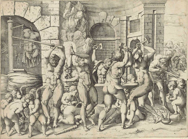 Wall Art - Drawing - Vulcan And The Cyclopes Forging Arrows For The Cupids by Enea Vico