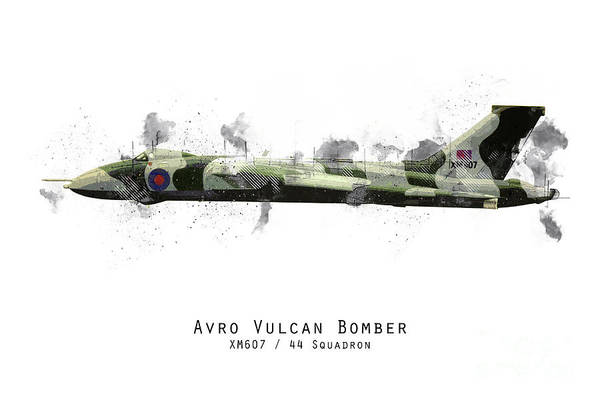 Wall Art - Digital Art - Vulcan Bomber Sketch - Xm607 by J Biggadike