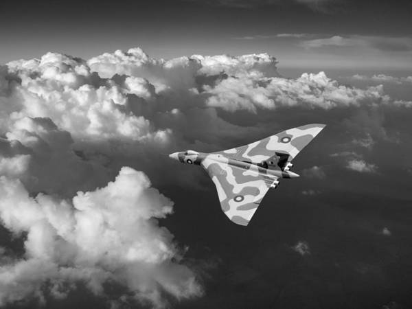 Photograph - Vulcan Catching The Light Black And White by Gary Eason