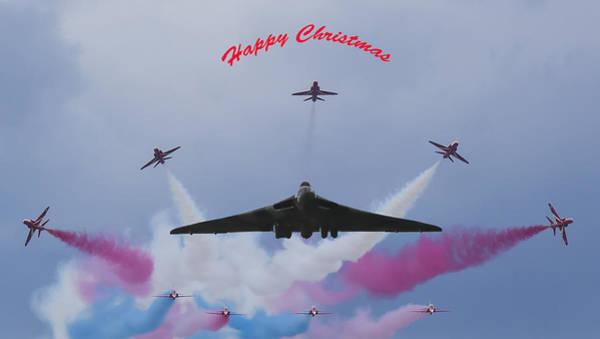 Vulcan Bomber Photograph - Vulcan And Red Arrows Christmas Card by John Richardson