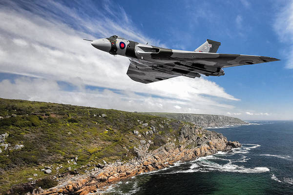 Nuclear Bomber Wall Art - Photograph - Vulcan Crosses The Iron Coast by Rob Lester