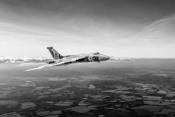 Photograph - Vulcan In Flight 2 Black And White Version by Gary Eason