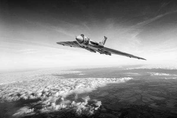 Photograph - Vulcan In Flight Black And White Version by Gary Eason