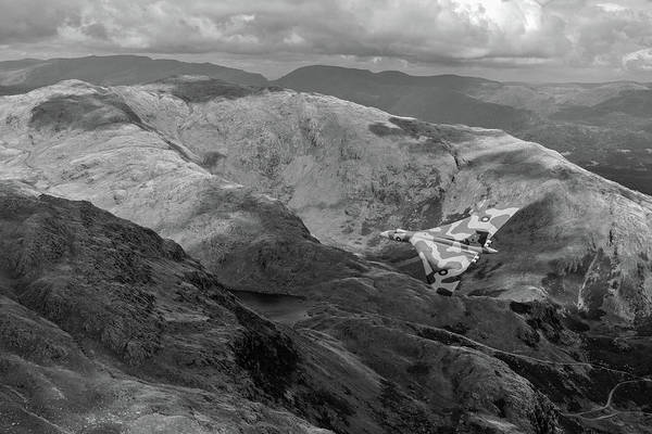 Photograph - Vulcan Low-level In The Lakes Bw Version by Gary Eason