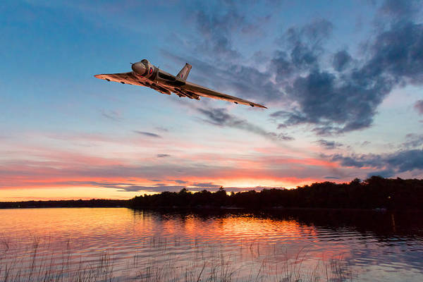 Avro Vulcan Wall Art - Digital Art - Vulcan Low Over A Sunset Lake by Gary Eason