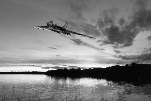 Digital Art - Vulcan Low Over A Sunset Lake Sunset Lake Bw by Gary Eason