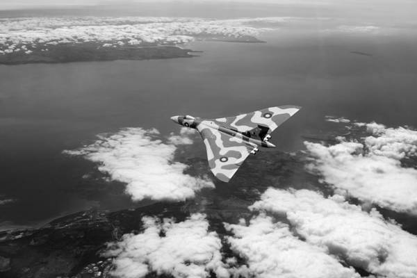 Photograph - Vulcan Over South Wales Black And White by Gary Eason