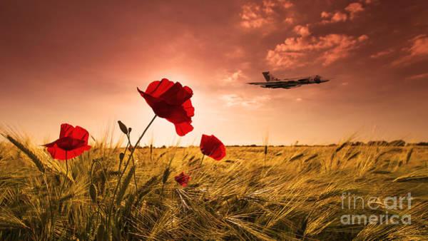 Falklands Digital Art - Vulcan Poppy Sunset by J Biggadike