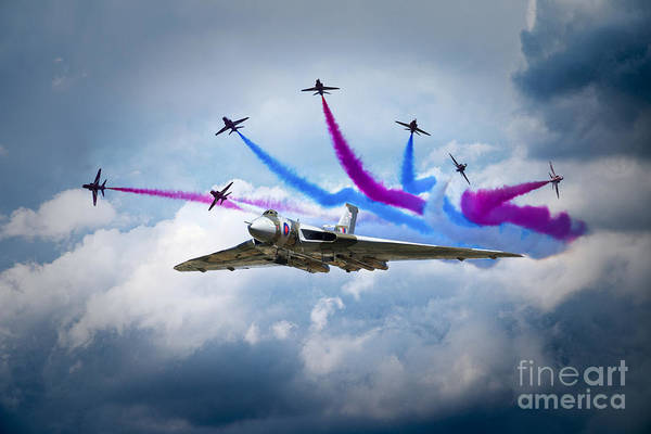 Wall Art - Digital Art - Vulcan Red Arrows Break by J Biggadike
