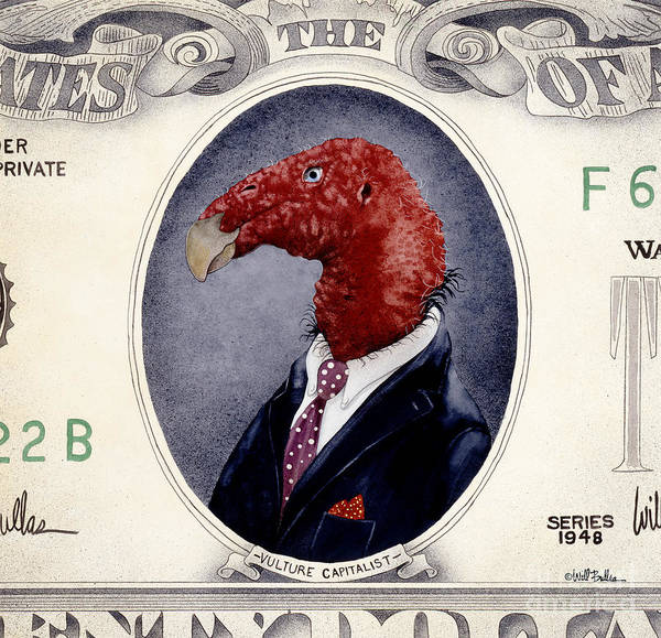 Wall Art - Painting - Vulture Capitalist... by Will Bullas