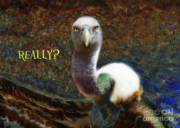 Digital Art - Vulture Note Card by Lisa Redfern
