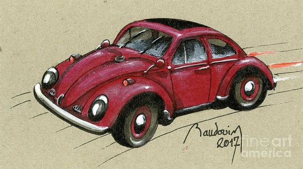 Le Mans 24 Painting - Red Bug by Alain Baudouin