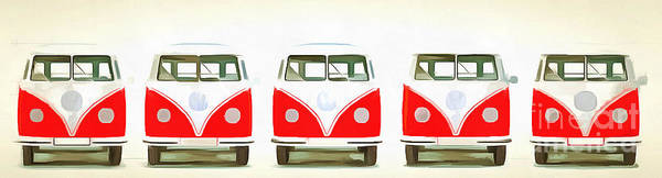 Wall Art - Painting - Retro Bus Line Up Painting by Edward Fielding