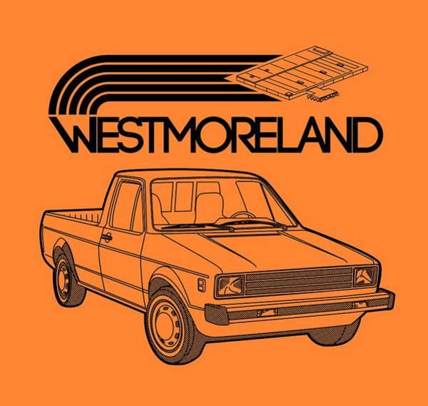Made In Digital Art - Vw Rabbit Pickup - Westmoreland Theme - Black by Ed Jackson