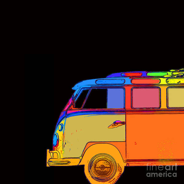 Surfer Painting - Vw Surfer Bus Square by Edward Fielding