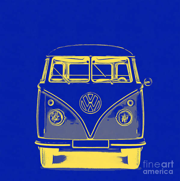 Wall Art - Photograph - Vw Van Blue Yellow Graphic by Edward Fielding