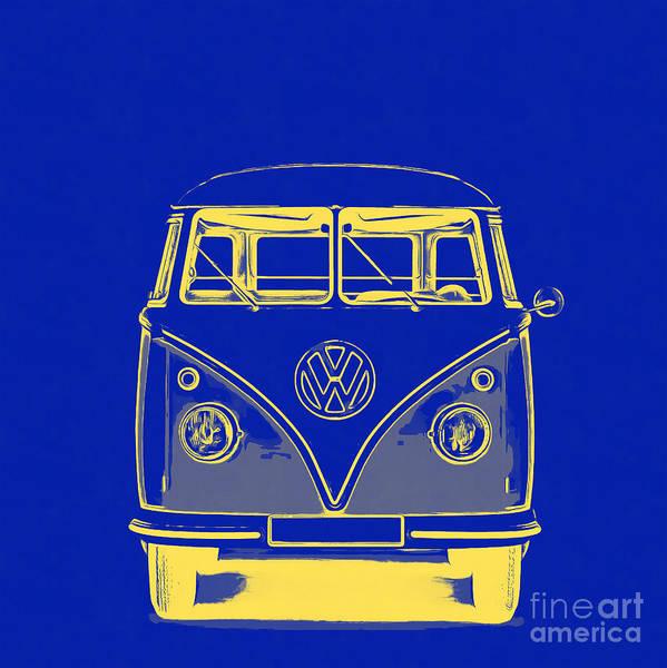 Sleeper Photograph - Vw Van Blue Yellow Graphic by Edward Fielding