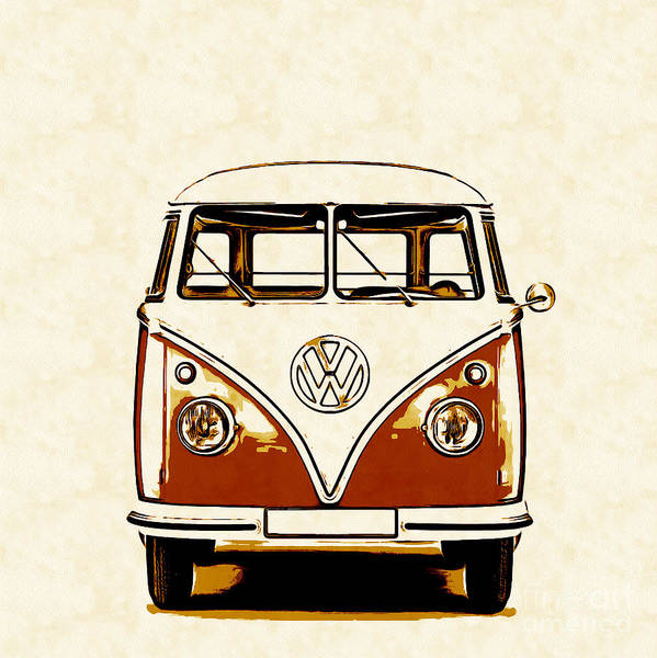 Wall Art - Painting - Vw Van Graphic Artwork Orange by Edward Fielding