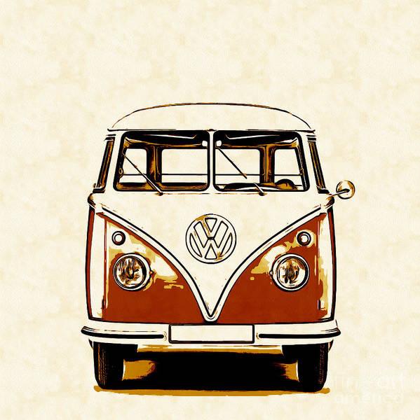 Classic Car Drawings Painting - Vw Van Graphic Artwork Orange by Edward Fielding