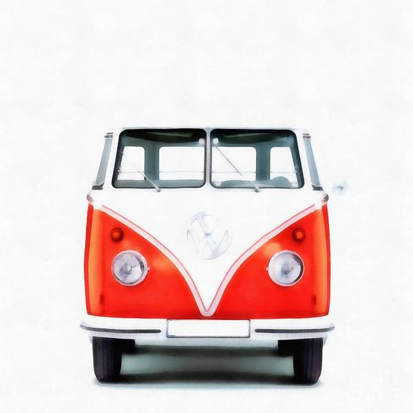 Wall Art - Painting - Vw Van Red Painting by Edward Fielding
