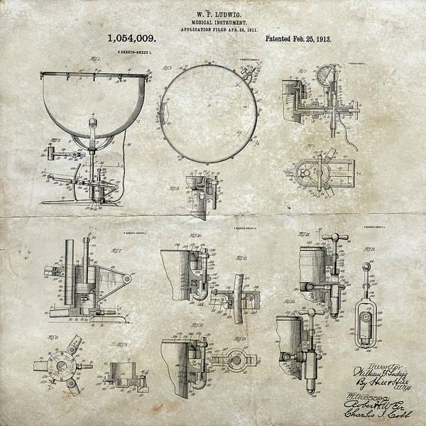 Digital Art - W F Ludwig Kettle Drum Patent by Paulette B Wright