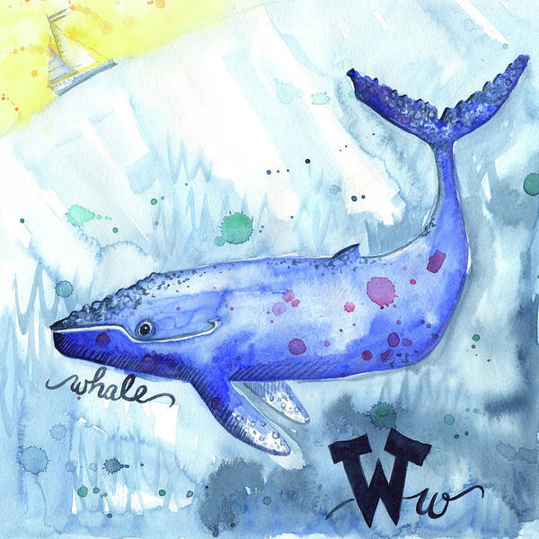 Wall Art - Painting - W Is For Whale by Kristy Lankford