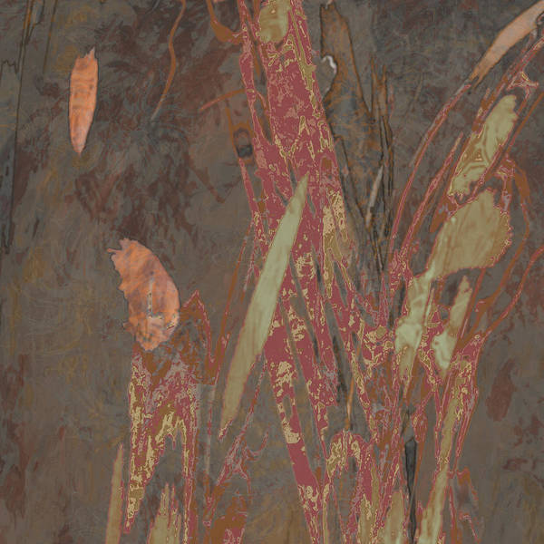 Digital Art - Wabi-sabi Ikebana Remix Dark Warm Taupe by Kristin Doner