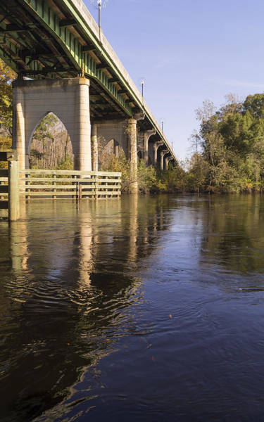 Photograph - Waccamaw Bridge Reflected In Turbulent Water November by MM Anderson