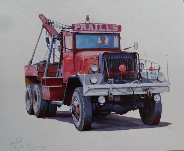 Ward Painting - Ward La France Wrecker by Mike Jeffries