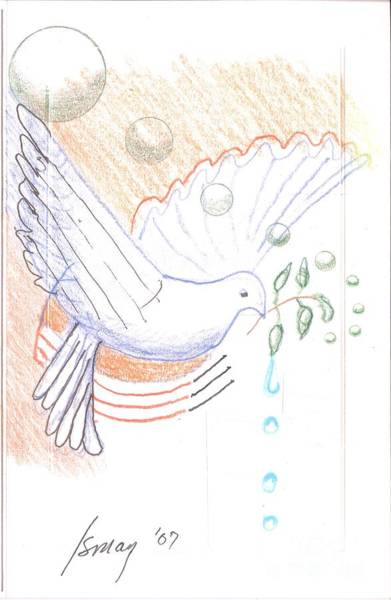 Olive Branch Drawing - Wage Peace by Rod Ismay