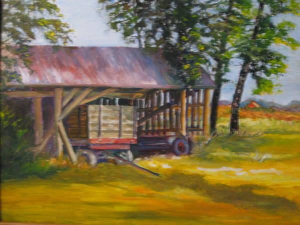 Wall Art - Painting - Wagon On Oregon Trail by Jan Harvey