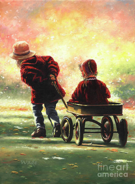 Pulling Painting - Wagon Ride Two Sisters by Vickie Wade