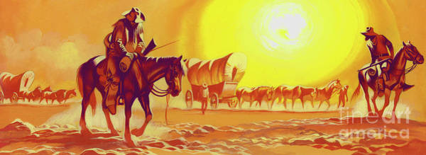 Wall Art - Painting - Wagon Trail In The Blistering Heat by Ron Embleton