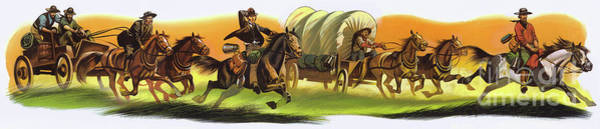 Wall Art - Painting - Wagon Train by Ron Embleton